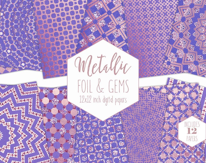 PURPLE FOIL Digital Paper Pack Rose Gold Backgrounds Metallic Scrapbook Paper Gem Wedding Patterns Party Printable Commercial Use Clipart