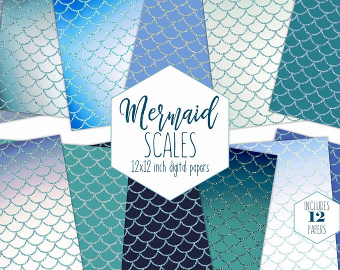 NAVY BLUE MERMAID Scale Digital Paper Pack Ocean Backgrounds Birthday Girl Scrapbook Papers Aqua Teal Green Patterns Party Printable Clipart