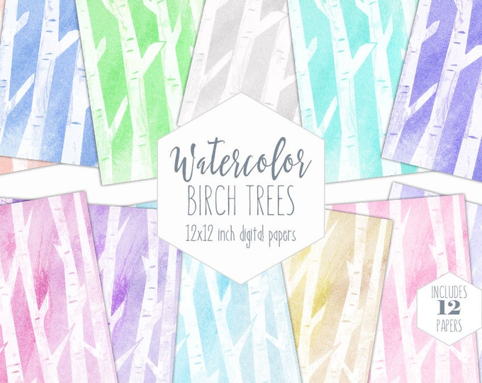PASTEL BIRCH TREE Digital Paper Commercial Use Paper Pack Tree Bark Backgrounds Rainbow Wood Watercolor Textures Scrapbook Papers Clipart