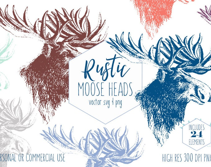 RUSTIC MOOSE HEAD Clipart for Commercial Use Woodland Animal Clip Art Deer Antlers Forest Elk Images Nature Vector Digital Graphics Svg