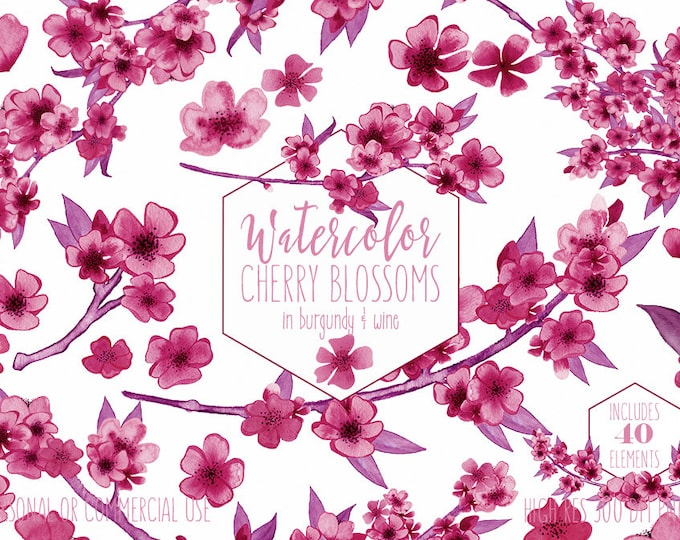 BURGUNDY WATERCOLOR SAKURA Branches Clipart Commercial Use Clip Art Wine Pink Cherry Blossoms Watercolour Floral Wreath Wedding Graphics