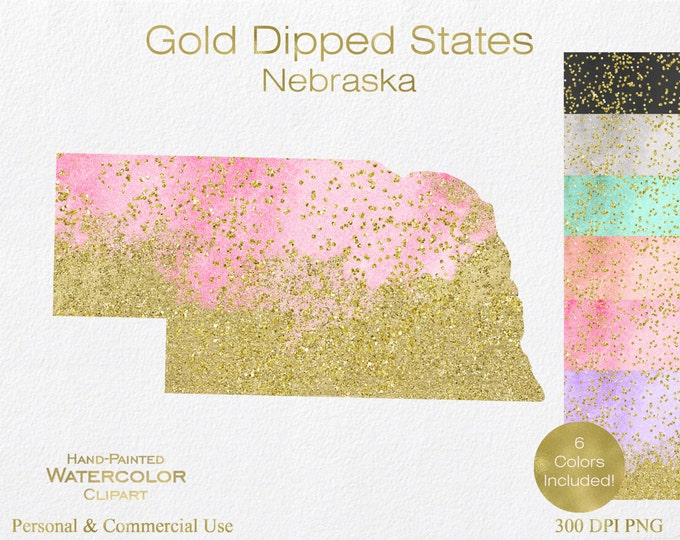 WATERCOLOR & GOLD NEBRASKA Clipart Commercial Use Clipart United States Shape Wedding Clipart Gold Confetti Dust Nebraska Clip Art Graphics