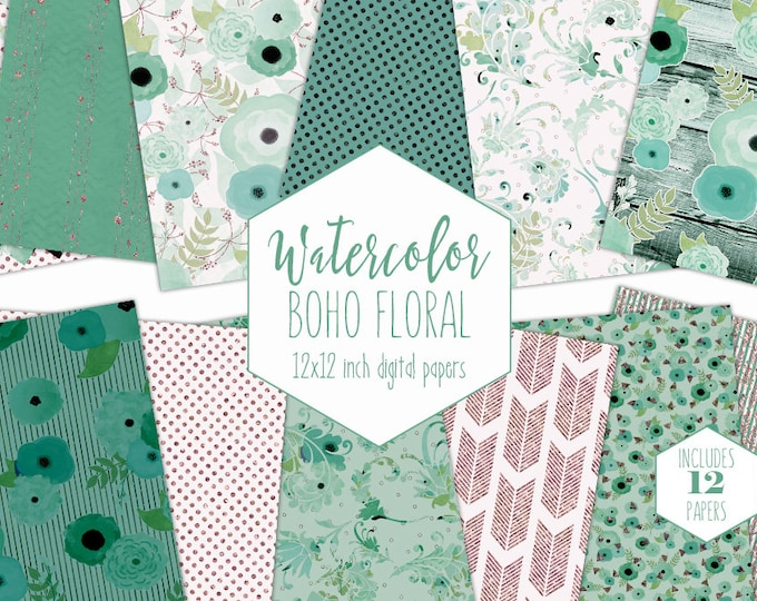 TEAL WATERCOLOR FLORAL Digital Paper Pack Aqua Mint & Rose Gold Metallic Backgrounds Commercial Use Bohemian Wedding Wood Scrapbook Papers