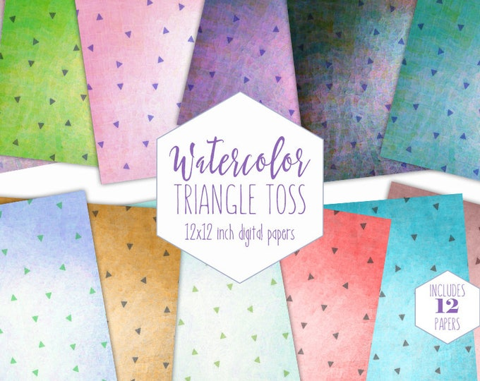 WATERCOLOR TRIANGLE Digital Paper Pack Commercial Use Backgrounds Rainbow Triangle Scrapbook Papers Birthday Party Cute Watercolour Patterns