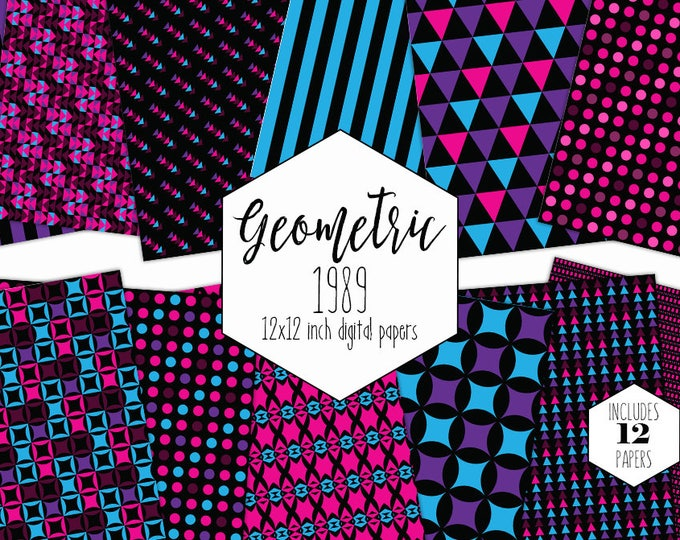 HOT PINK & BLACK Digital Paper Pack Commercial Use Purple Geometric Backgrounds Triangle Scrapbook Paper Stripe Dot Party Printable Patterns