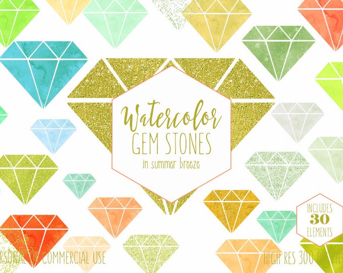 WATERCOLOR GEM Clipart Commercial Use Clip Art Metallic Glitter Gemstone Coral Peach Mint Gold Confetti Triangle Diamond Rhinestone Graphics