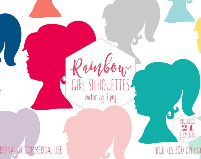 LITTLE GIRL SILHOUETTE Clipart for Commercial Use Planner Sticker Clip Art Face Rainbow Colors Girls Birthday Vector Digital Graphics Svg