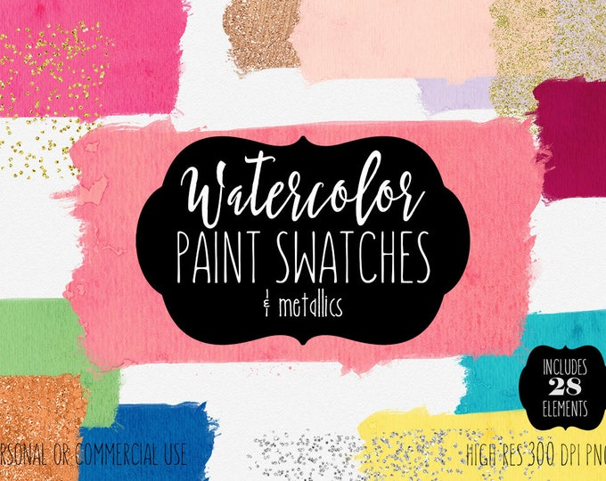 RAINBOW WATERCOLOR Brush Strokes Clipart Commercial Use Clip Art 28 Watercolor Paint Swatches Silver Gold Confetti Textures Logo Graphics