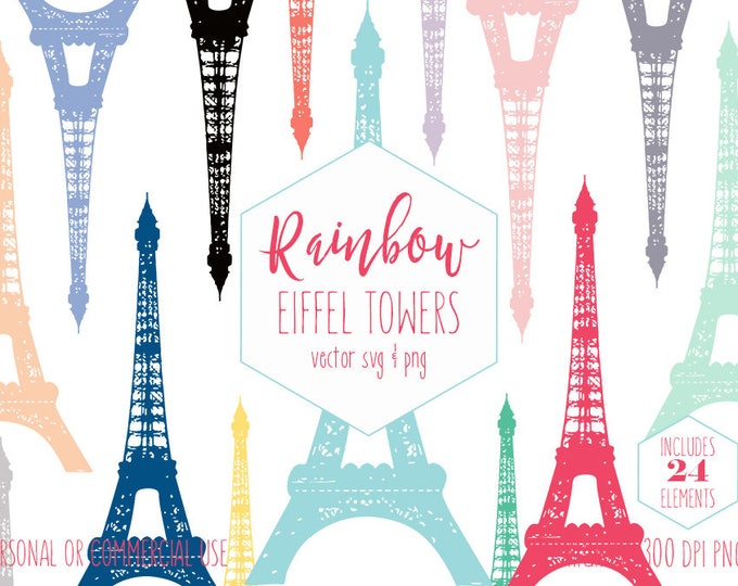 EIFFEL TOWER CLIPART for Commercial Use Planner Clip Art Rainbow Paris Eiffel Tower France Girls Birthday Party Vector Digital Graphics Svg