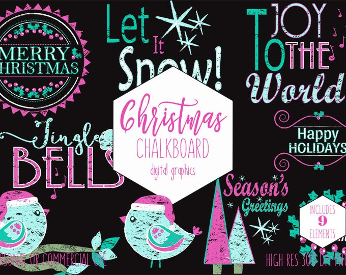 CHRISTMAS CLIPART for Commercial Use Pink & Aqua Holiday Clip Art Chalkboard Word Art Christmas Quotes Chalk Trees Bird Digital Graphics