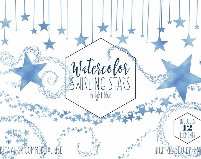 LIGHT BLUE STAR Clipart Commercial Use Clip Art Star Trail Graphics Star Sky Border Frames Banner Clipart For Baby Shower Digital Graphics