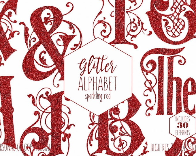 RED GLITTER MONOGRAM Alphabet Clipart for Commercial Use Christmas Holiday Letters Clip art Vintage Vine Monogram Digital Alphabet Graphics