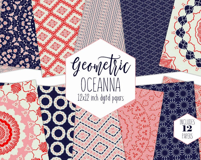 NAVY BLUE NAUTICAL Digital Paper Pack Salmon Red & White Backgrounds Star Mandala Scrapbook Paper Geometric Patterns Modern Beach Clipart