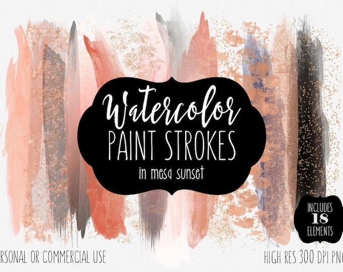 PEACH WATERCOLOR Brush Stroke Clipart Commercial Use Clip Art Watercolor Paint Salmon Blush Coral Rose Gold Confetti Watercolor Logo Clipart