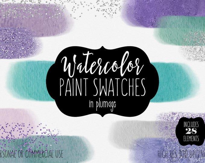 TEAL WATERCOLOR BRUSH Strokes Clipart Commercial Use Clip Art Watercolor Rectangle Paint Headers Aqua Purple Confetti Textures Logo Graphics