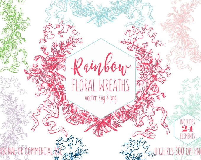 FLORAL WREATH CLIPART for Commercial Use Clip Art Vintage Wreath Flower Frame Antique Flourish Romantic Wedding Vector Digital Graphics Svg
