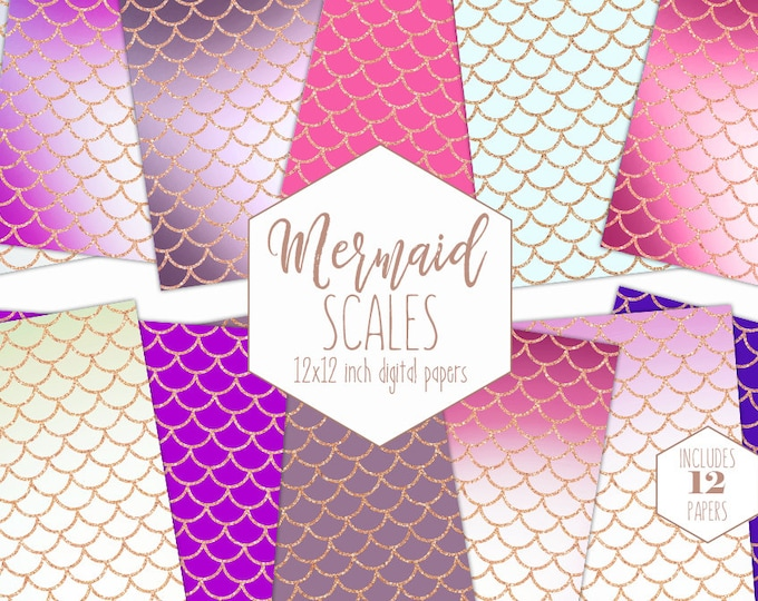 ROSE GOLD MERMAID Scale Digital Paper Pack Girl Birthday Backgrounds Rainbow Scrapbook Papers Metallic Patterns Party Printable Fun Clipart