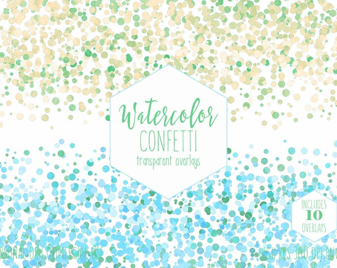 WATERCOLOR CONFETTI BORDER Clipart Commercial Use Clip Art Pastel Confetti Dots Transparent Overlays Aqua Blue Yellow Baby Shower Graphics