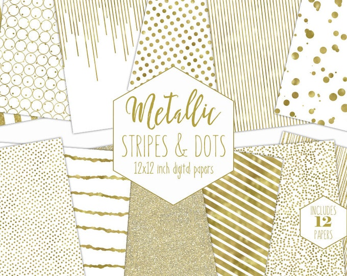 WHITE & GOLD FOIL Digital Paper Pack Stripe Backgrounds Metallic Confetti Scrapbook Paper Polka Dot Wedding Patterns Party Printable Clipart