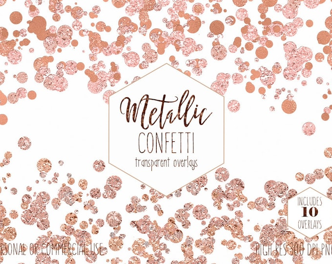 PEACH CONFETTI Overlays Clipart for Commercial Use Clip Art Transparent Borders Metallic Rose Gold Party Wedding Invitation Digital Graphics