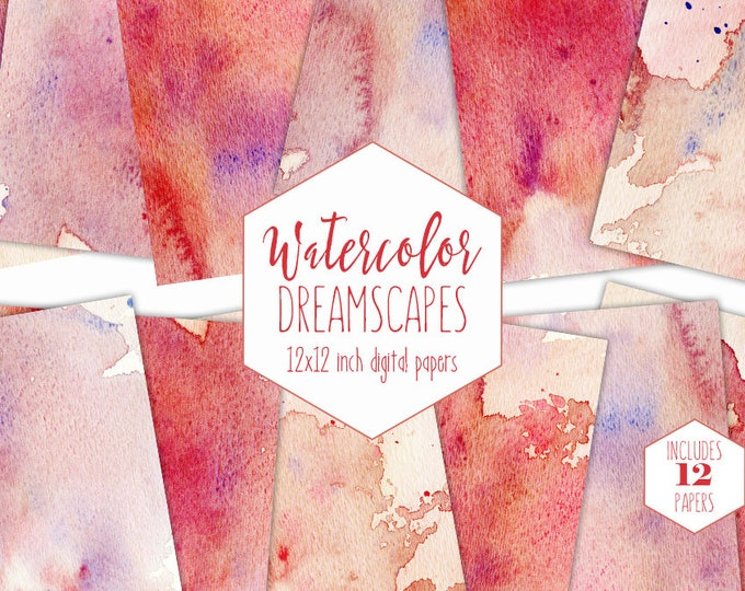 PEACH & CORAL WATERCOLOR Digital Paper Pack Commercial Use Backgrounds Red Paint Splatter Scrapbook Papers Orange Watercolour Wash Textures