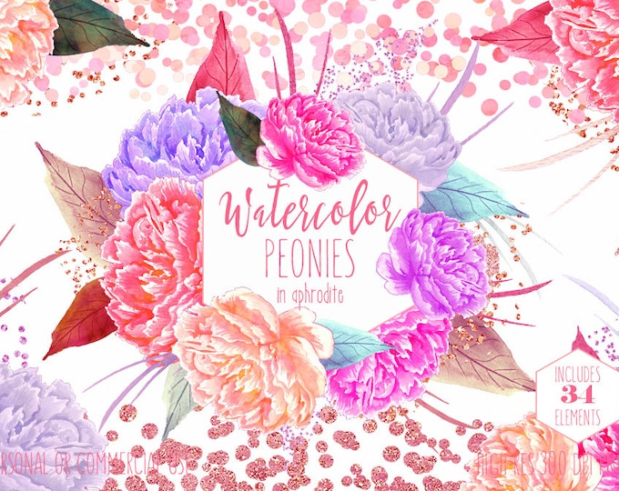 PINK WATERCOLOR PEONIES Clipart Commercial Use Clip Art Watercolour Peony Floral Rose Gold Metallic Foil Confetti Flowers Wedding Graphics