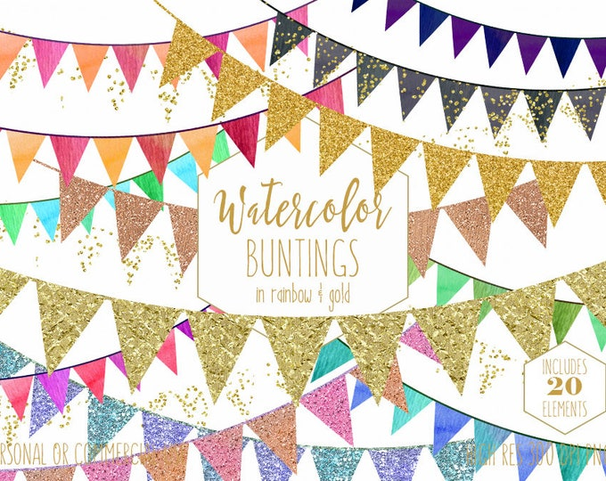 GOLD BUNTING BANNER Clipart Commercial Use Clip Art Rainbow Watercolor Pennant Flag Banners & Gold Glitter Confetti Birthday Party Graphics