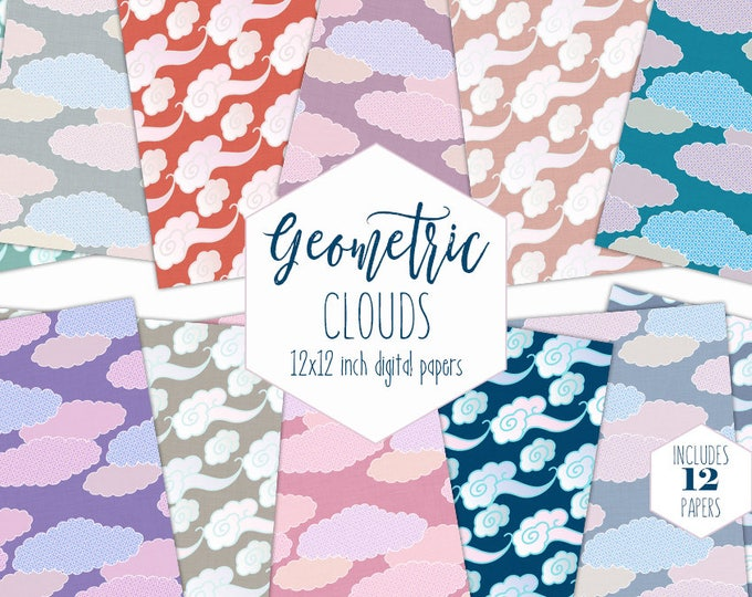 CUTE RAINBOW CLOUD Digital Paper Pack Sky Backgrounds Fluffy Cloud Scrapbook Papers Kids Patterns Party Printable Commercial Use Clipart