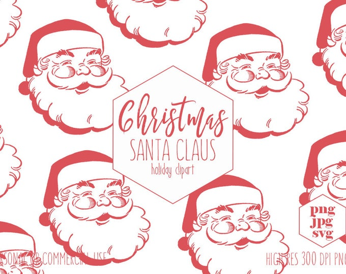SANTA CLAUS Clipart for Commercial Use Vintage Red Santa Christmas Clip Art Santa Clause Face SVG Holiday Cut Out Vector Digital Graphics