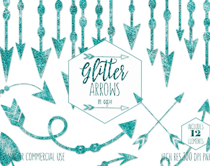 TEAL GLITTER ARROW Clipart for Commercial Use Clip Art  Aqua Metallic Tribal Images Arrow Border Bohemian Boho Chic Wedding Digital Graphics