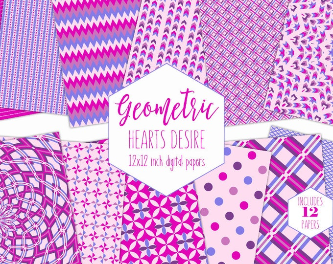 PURPLE & HOT PINK Digital Paper Pack Little Girl Backgrounds Geometric Scrapbook Paper Arrow Patterns Party Printable Commercial Use Clipart