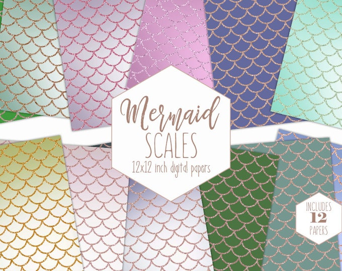 RAINBOW MERMAID SCALE Digital Paper Pack Pastel Backgrounds Rose Gold Scrapbook Papers Pink Birthday Girl Patterns Party Printable Clipart