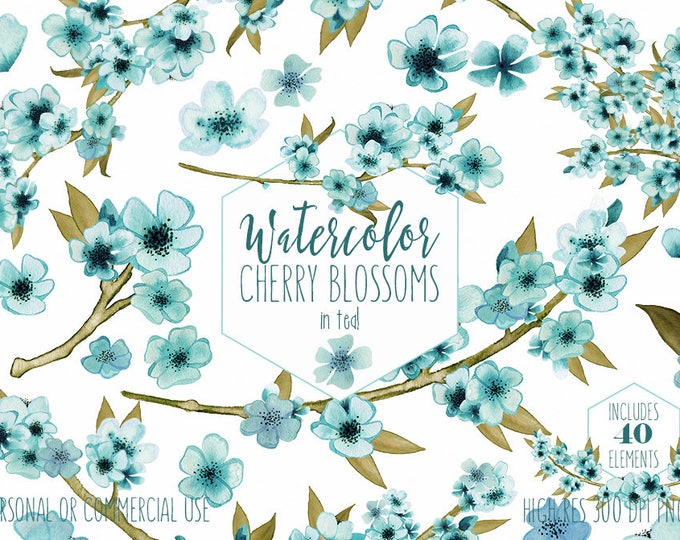 TEAL WATERCOLOR FLORAL Clipart Commercial Use Clip Art Wedding Flowers Clipart Petals Cherry Blossom Sakura Branches Floral Wreath Graphics