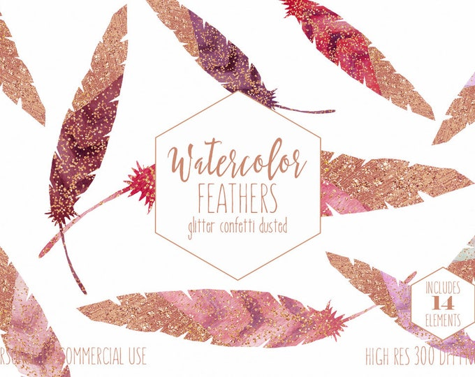 WATERCOLOR FEATHER Clipart Commercial Use Clip Art Boho Feathers Metallic Rose Gold Confetti Dipped Burgundy Pink Tribal Feather Graphics