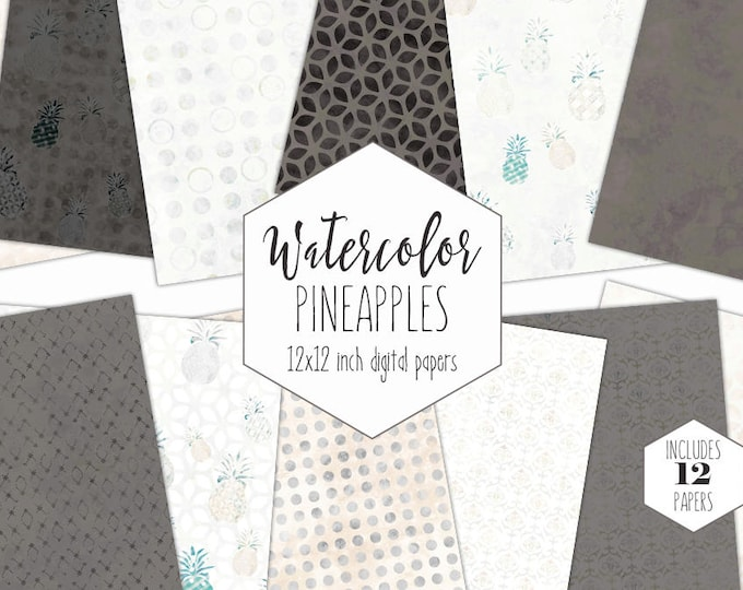 GRAY WATERCOLOR Digital Paper Pack Commercial Use Pineapple Clipart Backgrounds Tropical Scrapbook Papers Peach Geometric Fun Beach Patterns