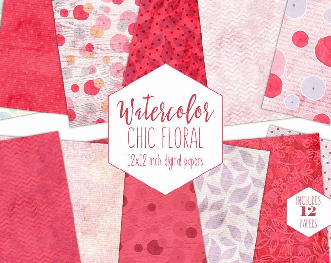 PINK WATERCOLOR FLOWER Digital Paper Pack Commercial Use Blush Backgrounds Coral Red Floral Scrapbook Paper Shabby Chic Wood Lace Patterns