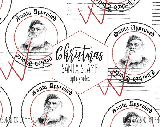 SANTA CLAUS CLIPART for Commercial Use Christmas Clip Art Checked Twice Stamp of Approval Vintage Santa Stamp Diy Holiday Tags & Gifts