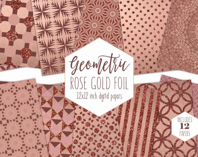 ROSE GOLD FOIL Digital Paper Pack Copper Gem Backgrounds Bling Metallic Scrapbook Papers Geometric Wedding Patterns Party Printable Clipart