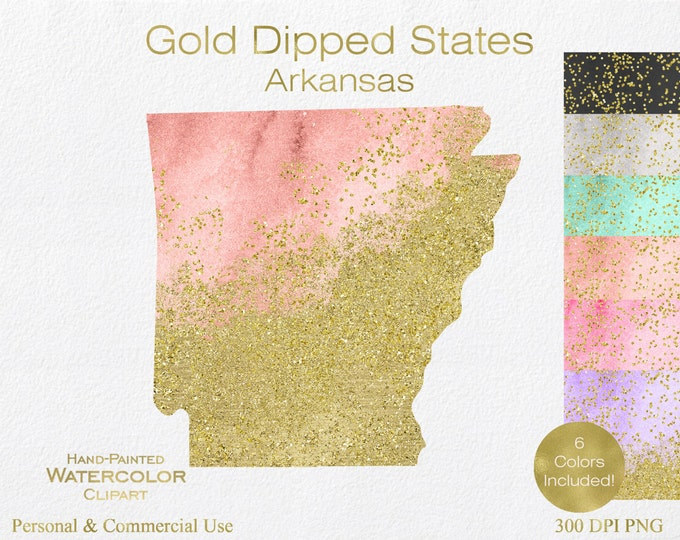 WATERCOLOR & GOLD ARKANSAS Clipart Commercial Use Clipart United States Shape Wedding Clipart Gold Glitter Confetti Dust Arkansas Clip Art