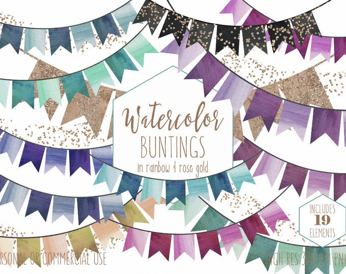 BUNTING BANNER Clipart Commercial Use Clip Art Rainbow Watercolor Flag Banners & Rose Gold Confetti Birthday Party Celebration Graphics