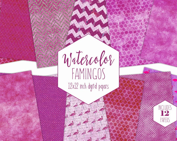 PURPLE WATERCOLOR FLAMINGO Digital Paper Pack Commercial Use Tropical Backgrounds Violet Pink Scrapbook Papers Beach Watercolour Patterns