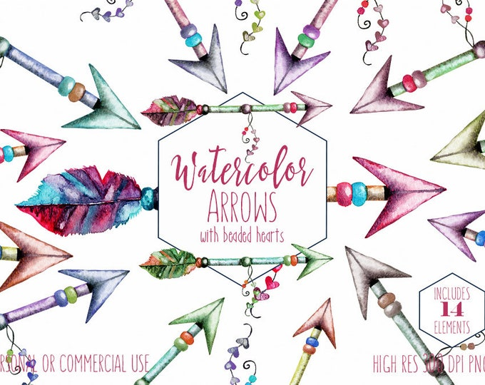 CHIC WATERCOLOR ARROWS Clipart Commercial Use Clip Art Tribal Boho Hand Drawn Arrow Graphics Watercolour Papers Heart Arrow Wedding Graphics