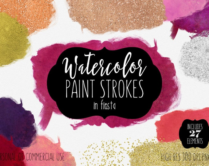 WATERCOLOR PAINT BLOBS Clip Art Commercial Use Clipart 27 Watercolor Brush Strokes Silver Rose Gold Confetti Watercolor Paint Logo Graphics