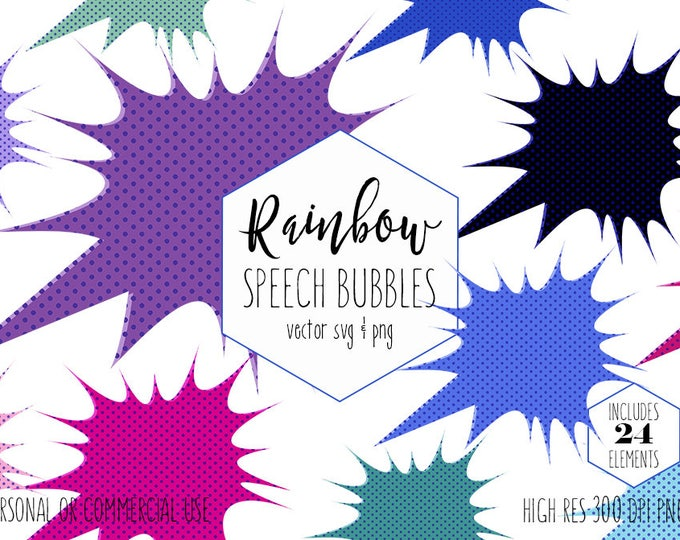COMIC BUBBLE CLIPART for Commercial Use Planner Sticker Clip Art Superhero Speech Call-Out Text Frame Kids Party Vector Digital Graphics Svg