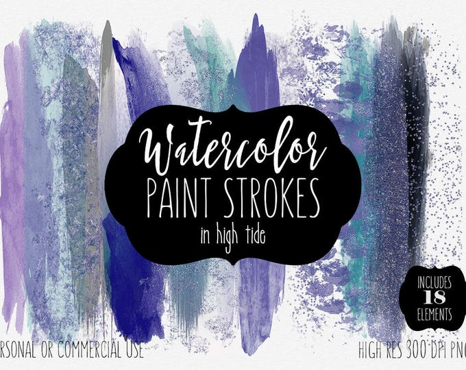 OCEAN WATERCOLOR BRUSH Strokes Clipart Commercial Use Clip Art Paint Strokes Purple Aqua Teal Blue Metallic Confetti Textures Logo Graphics