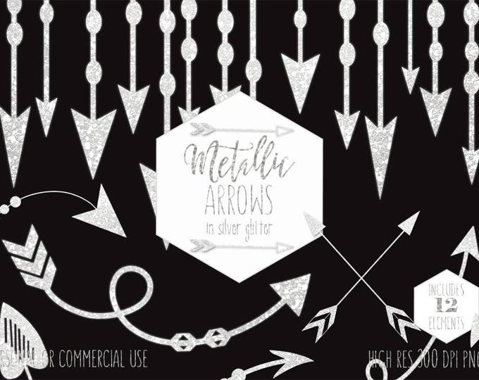 SILVER ARROW CLIPART for Commercial Use Wedding Clip Art Metallic Glitter Arrow Shapes Tribal Planner Images Boho Border Digital Graphics