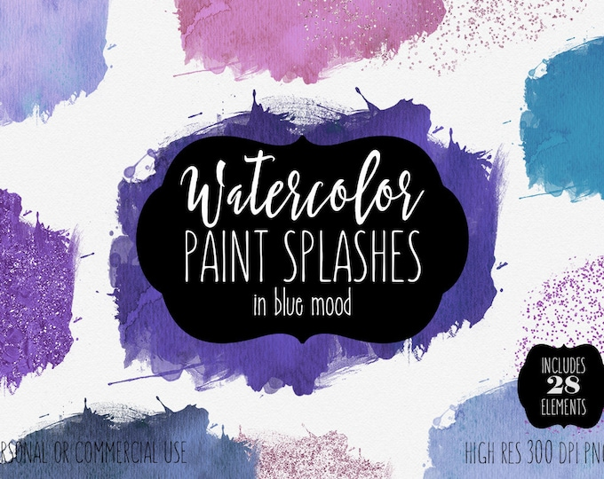 BLUE WATERCOLOR BRUSH Strokes Clipart Commercial Use Clip Art 28 Watercolor Paint Splash Purple Confetti Watercolor Textures Logo Graphics