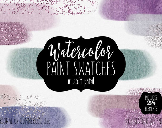 WATERCOLOR PAINT STROKES Clipart Commercial Use Clip Art 28 Watercolor Brush Stroke Rectangle Headers Pink & Silver Confetti Logo Graphics