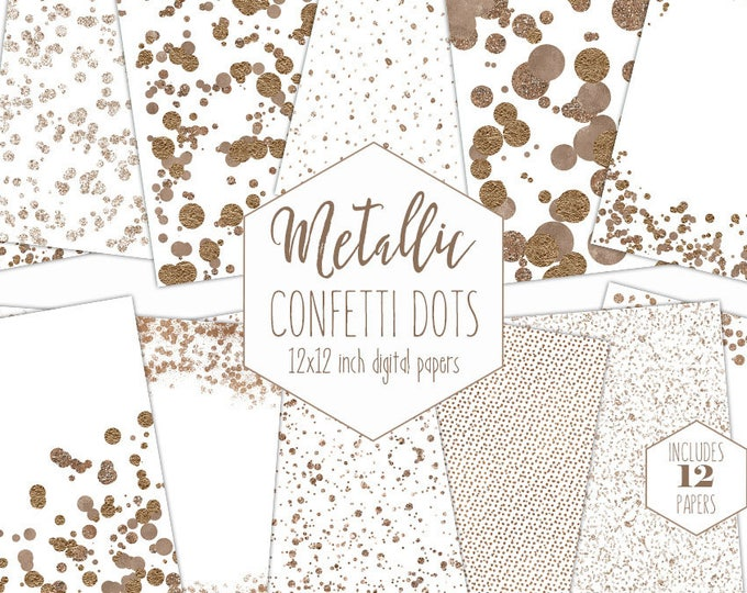 WHITE & ROSE GOLD Foil Digital Paper Pack Metallic Confetti Dot Backgrounds Wedding Scrapbook Paper Patterns Party Printable Commercial Use