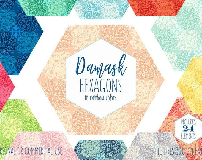 DAMASK HEXAGON CLIPART for Commercial Use Planner Sticker Clip Art Hexagon Honey Comb Shapes Rainbow Colors Elegant Wedding Digital Graphics